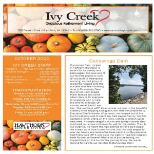 October newsletter at Ivy Creek Gracious Retirement Living in Glen Mills, Pennsylvania