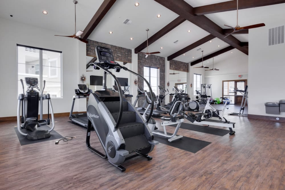 Well-equipped onsite fitness center at Olympus Rodeo in Santa Fe, New Mexico