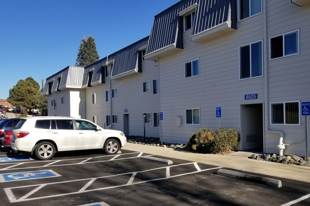 Parking and entryway at Park Terrace in Arvada, Colorado