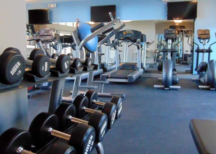 Watercourse Apartments offers a spacious fitness center in Graham, North Carolina