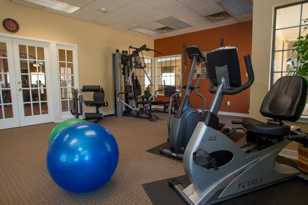 Yoga balls for resident use at Council Place Apartments in Oklahoma City, Oklahoma