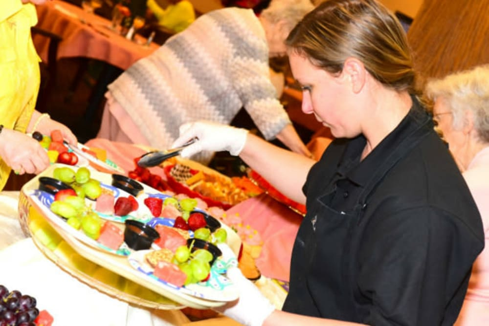 Delicious food being served in the dining area at River Commons Senior Living in Redding, California