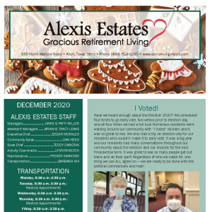 December newsletter at Alexis Estates Gracious Retirement Living in Allen, Texas