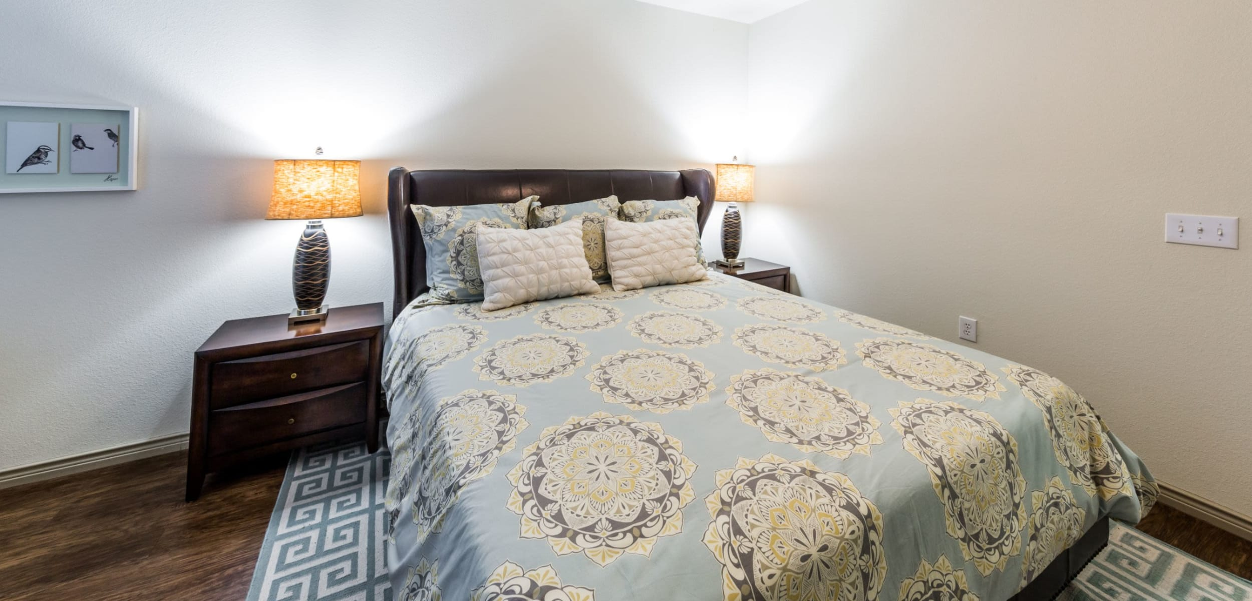 Bright bedroom with wood floors and a rug under the bed at The Marquis at Brushy Creek in Austin, Texas
