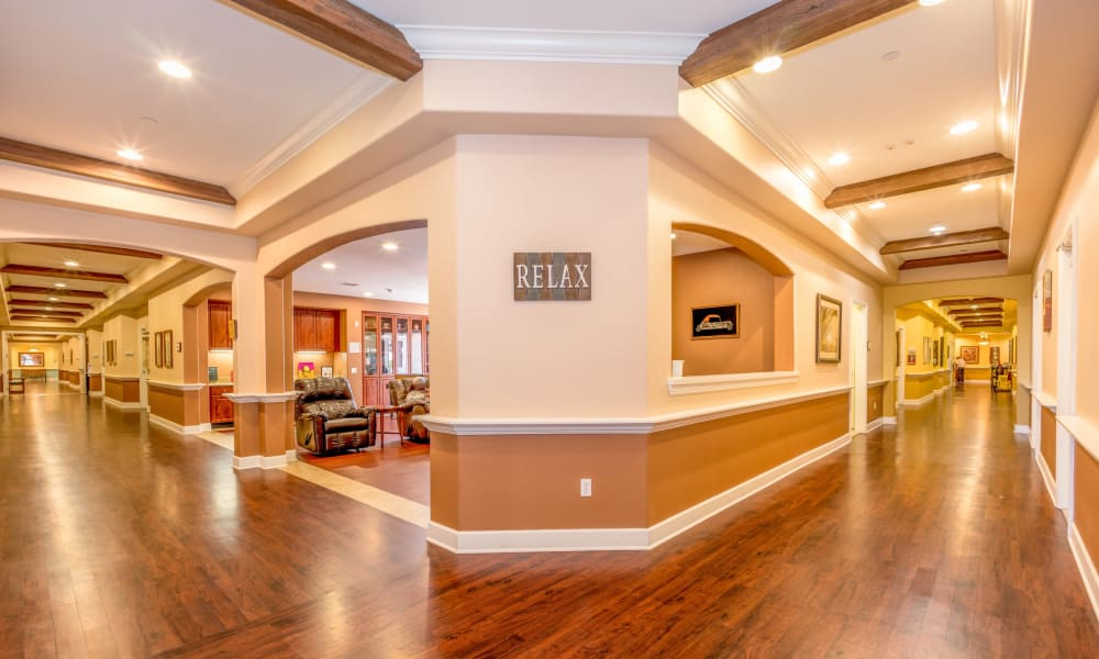 Wide-angle view of the hallways at Vista Gardens in Vista, California