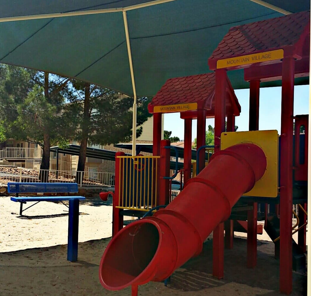 Covered playground at Mountain Village in El Paso, Texas