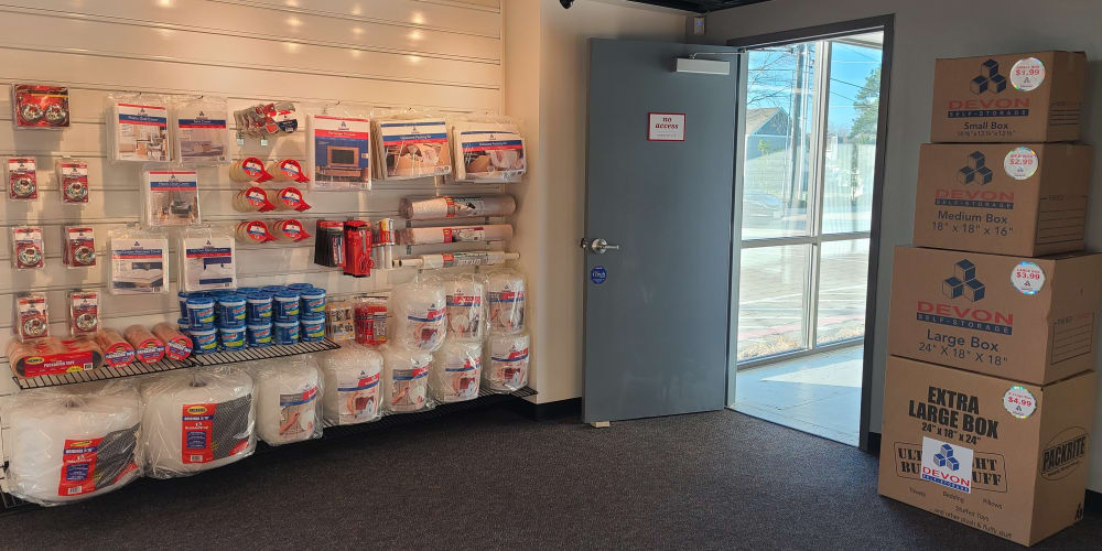 entry way and packing supplies at Devon Self Storage in Pearland, Texas