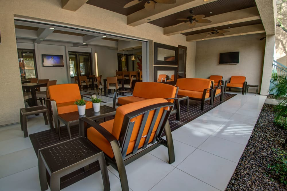 Outdoor patio seating at Sage Luxury Apartment Homes in Phoenix, Arizona