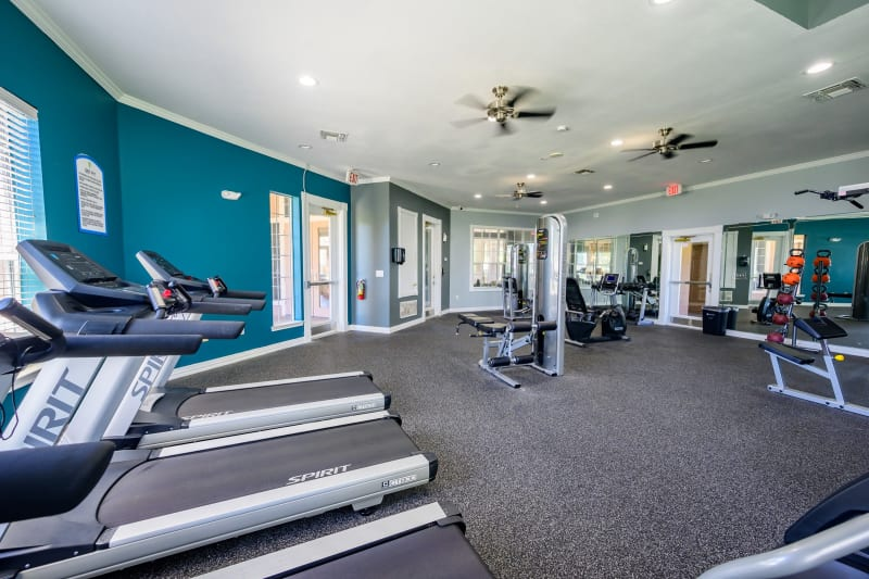 Well equipped fitness center at The View at Lakeside in Lewisville, Texas