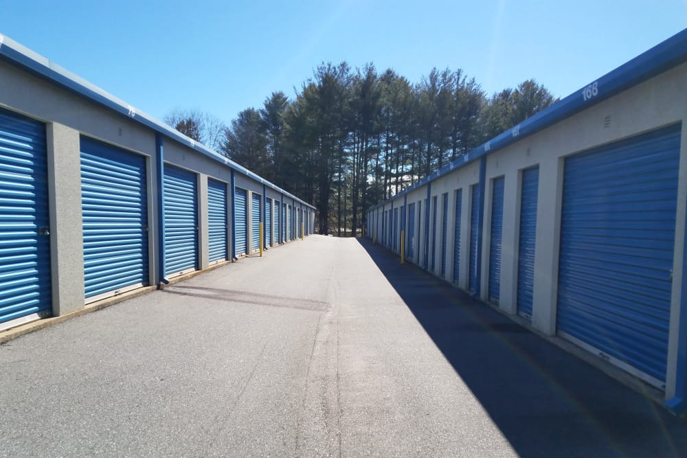 Rows of storage units at Monster Self Storage in Asheville, North Carolina
