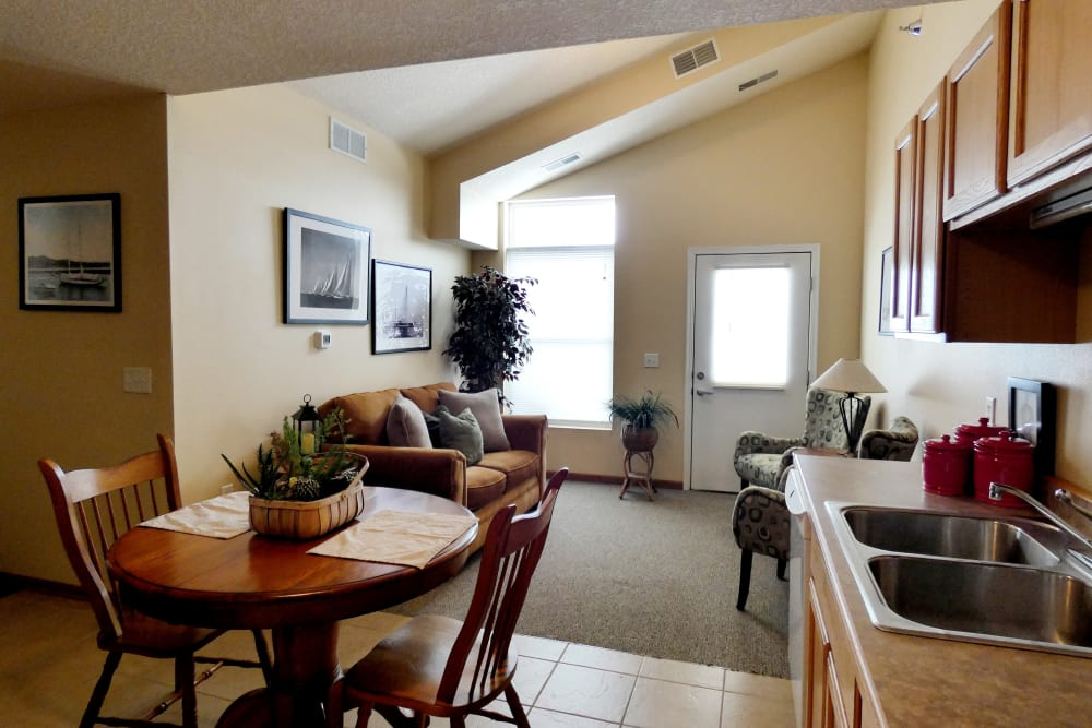 Large resident apartment at The Lakeside Village in Panora, Iowa.