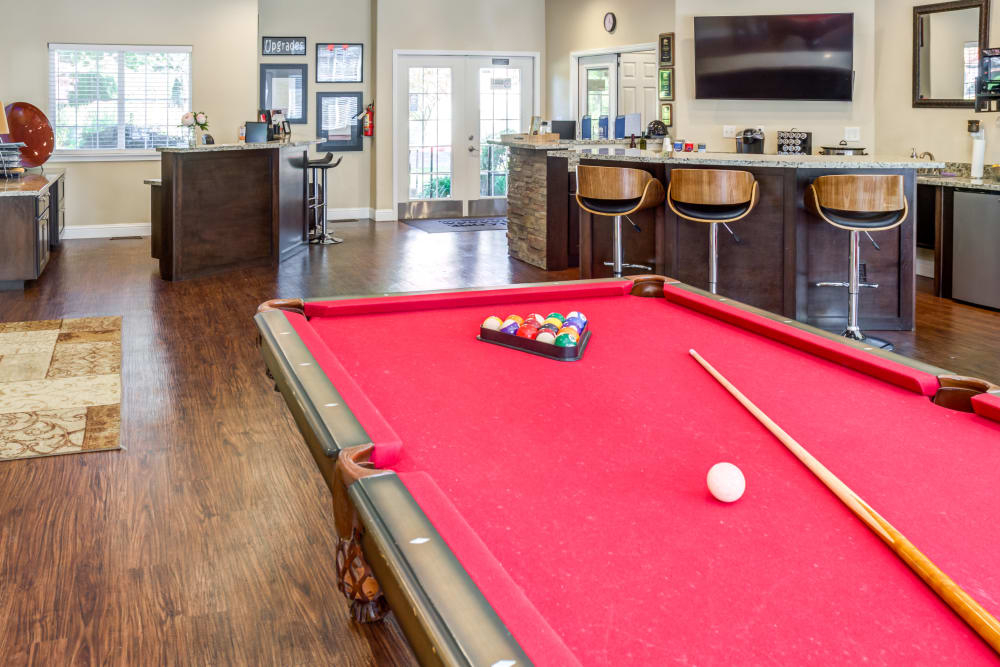 Game room in the clubhouse at Madison Park Apartments in Vancouver, Washington