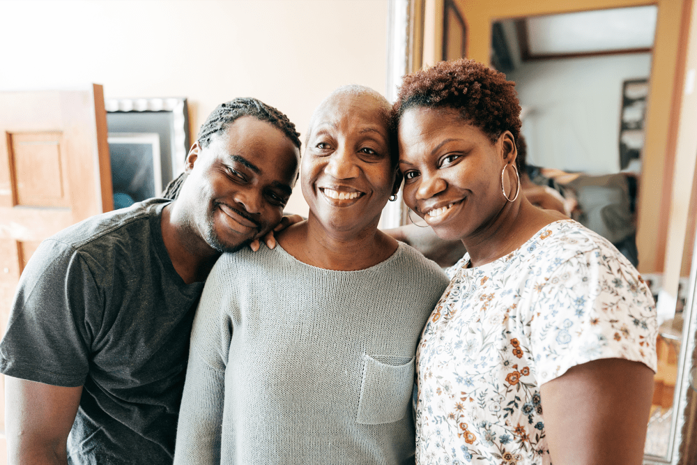 Happy resident with her son and daughter at Hanover Place in Tinley Park, Illinois