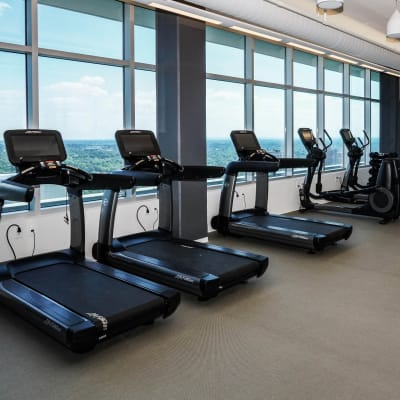 Fully equipped fitness center at Two Twelve Clayton in Clayton, Missouri