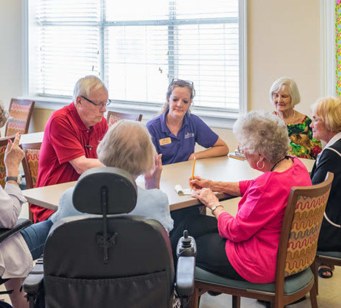 Residents talking with each other at Town Village in Oklahoma City, Oklahoma