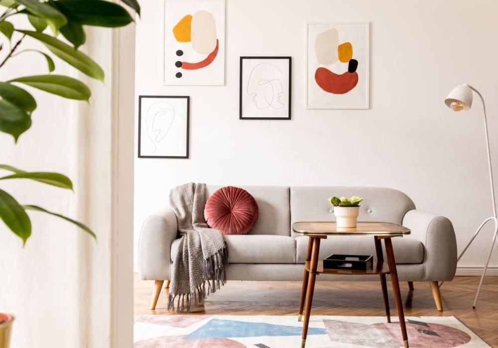 Bright living room at Canterbury Apartments in Bridgeville, Delaware