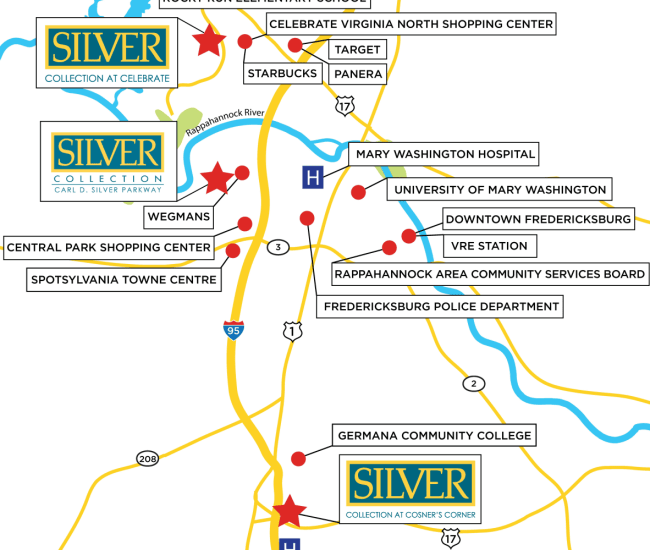 Silver Collection Communities map at Silver Collection Signature Series in Fredericksburg, Virginia