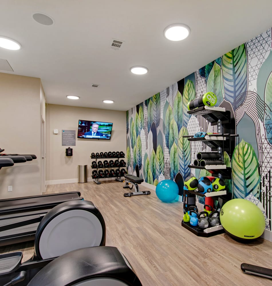 Well-equipped onsite fitness center at Vue Los Feliz in Los Angeles, California