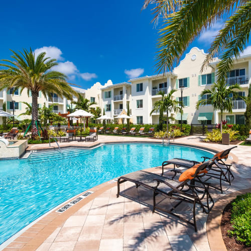 Sparkling pool at Town Lantana in Lantana, Florida