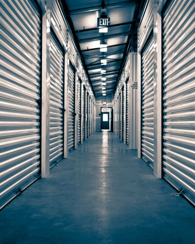 Variety of units and well-lit hallways at Towne Storage in West Valley, Utah