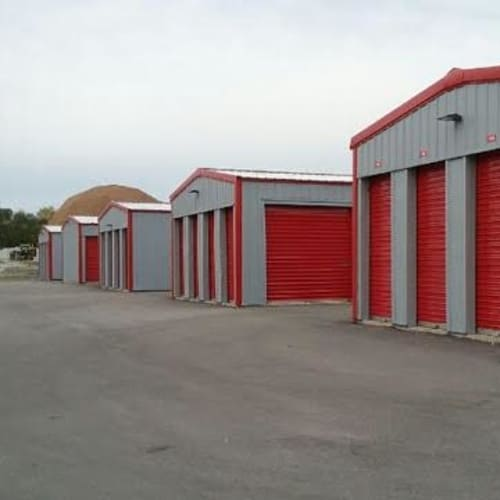 Outdoor storage units at Red Dot Storage in Monee, Illinois