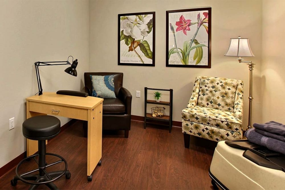 Resident nail salon at Milestone Senior Living in Woodruff, Wisconsin