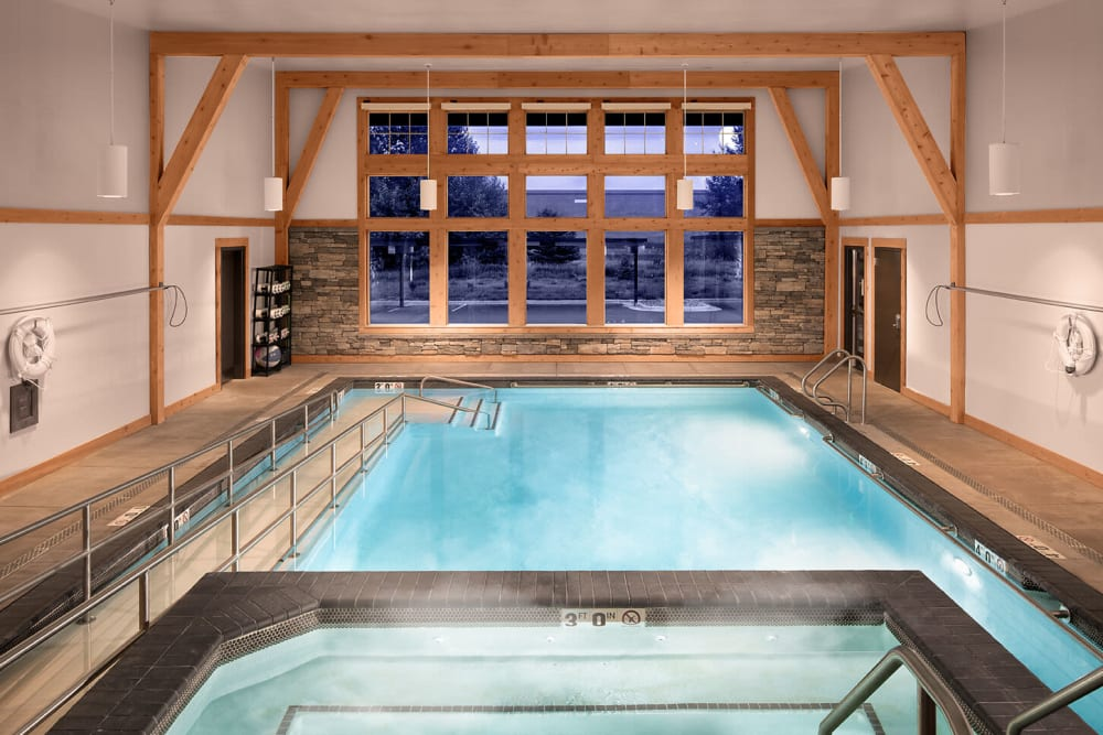 clear blue indoor pool at The Springs at Bozeman in Bozeman, Montana