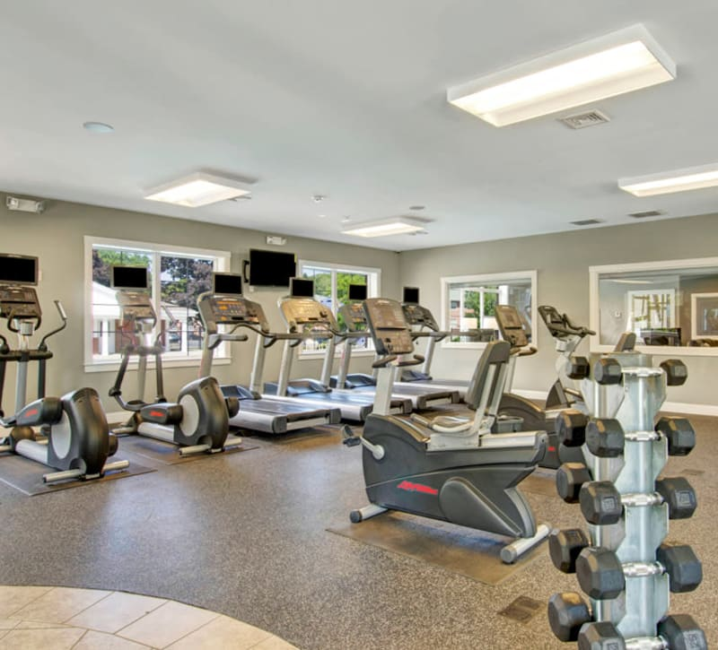 Fully equipped fitness center at Gardencrest in Waltham, Massachusetts