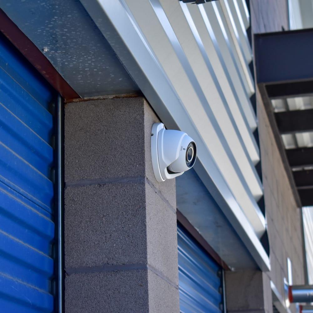 A video surveillance camera at STOR-N-LOCK Self Storage in Colorado Springs, Colorado