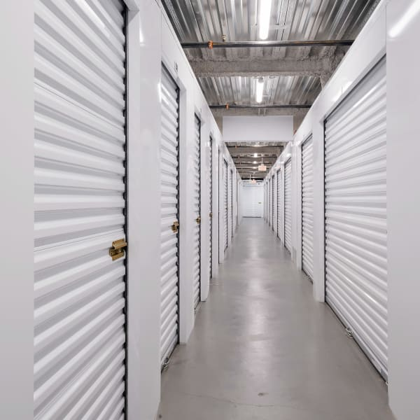 Indoor storage units of varying sizes at StorQuest Self Storage in Paramount, California