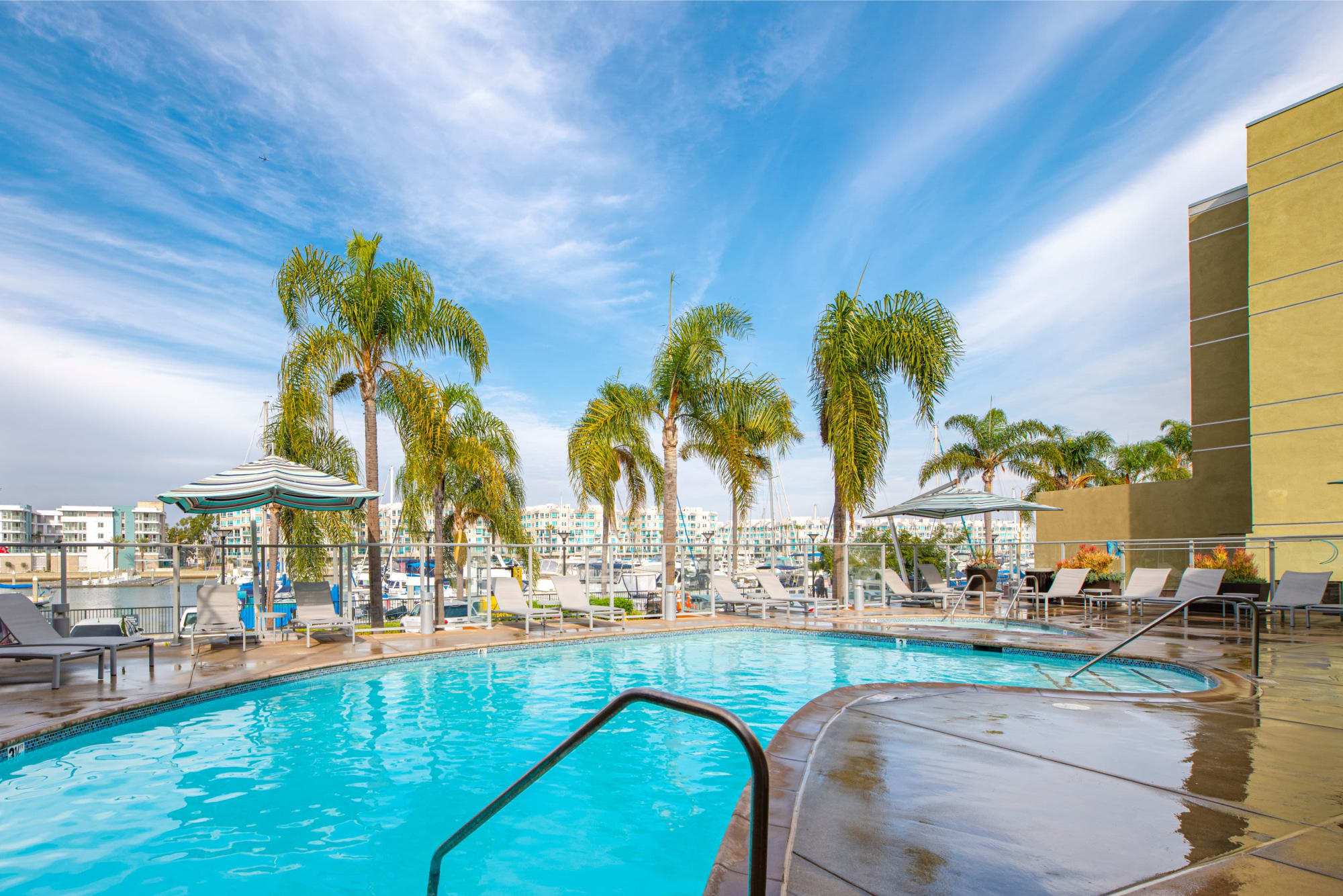 The pool and palm trees on a beautiful day at Harborside Marina Bay Apartments in Marina del Rey, California