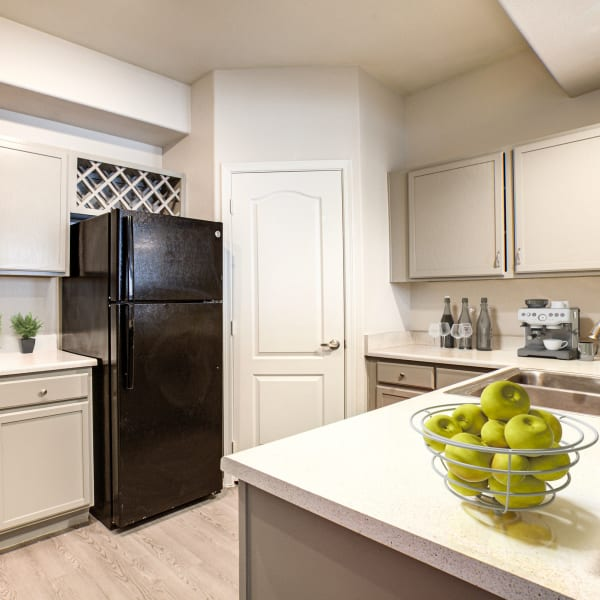 Black appliances in the kitchen at The Sterling in Gilbert, Arizona