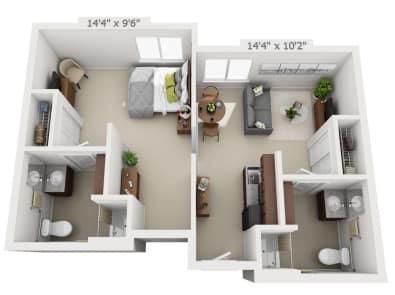 One-bedroom floor plans at Pine Grove Crossing in Parker, Colorado