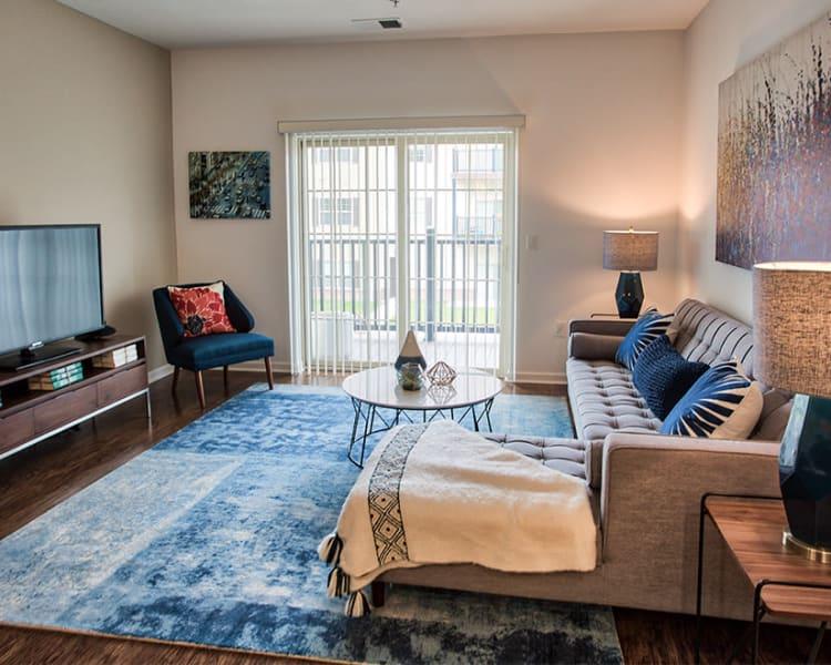Beautiful living room at The Kane at Gray's Landing in Aliquippa, Pennsylvania