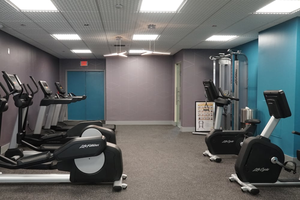 Fitness center featuring modern equipment at Element 250 in Hartford, Connecticut