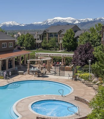 Aerial view of the swimming pool and spa at The Vintage at South Meadows Condominium Rentals in Reno, Nevada