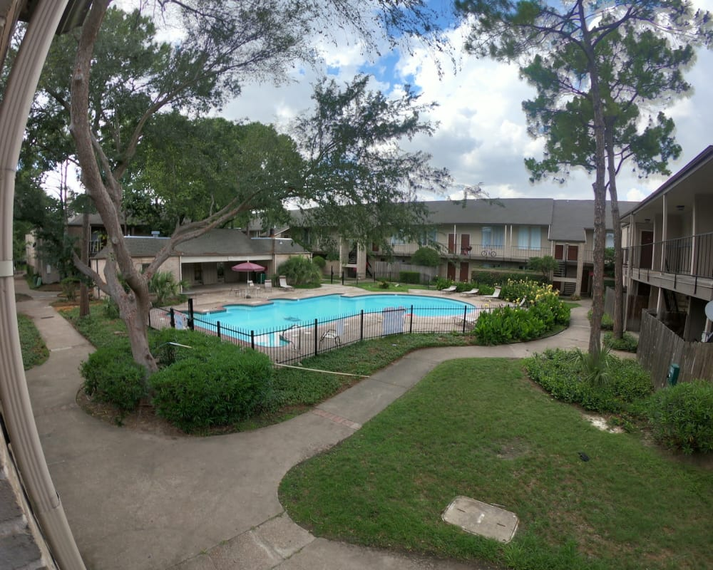 Beautiful blue pool at 2929 Dunvale in Houston, Texas