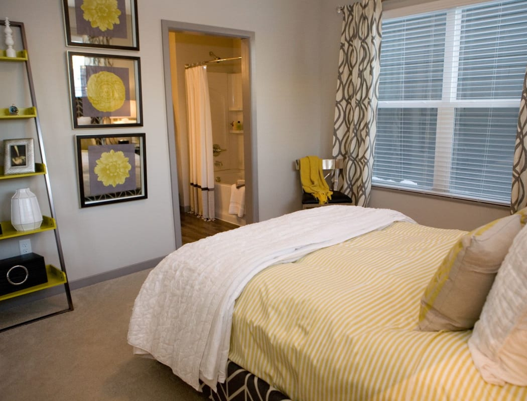 Modern bedroom in model apartment at Palmer House Apartment Homes in New Albany, Ohio