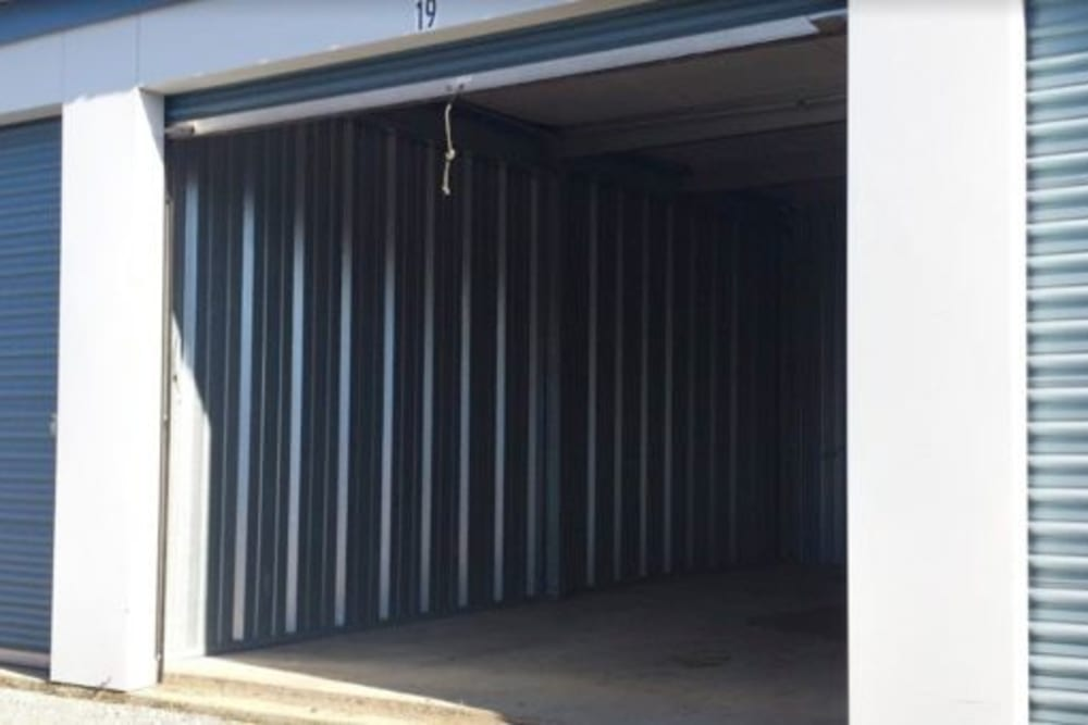 Garage style roll up doors on self storage units at StayLock Storage in La Porte, Indiana