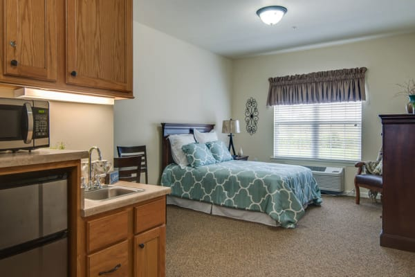 Assisted living model apartment at Adams Pointe Senior Living in Quincy, Illinois