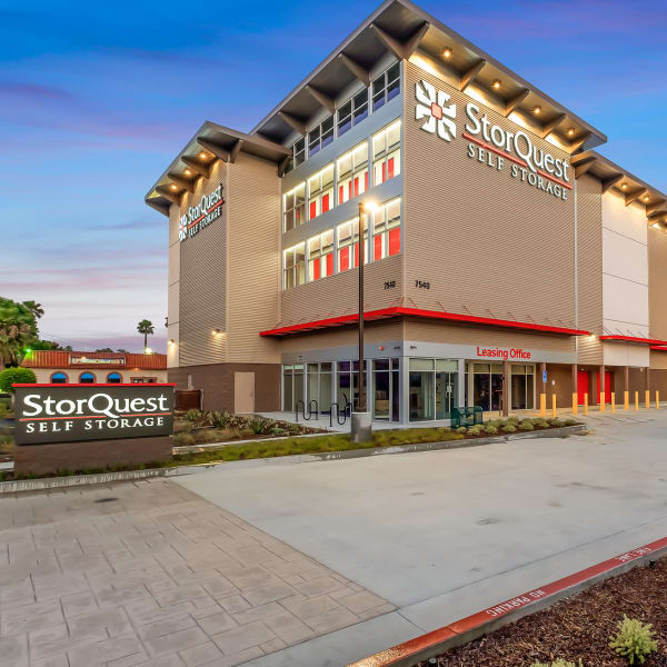 Exterior of the main entrance at StorQuest Self Storage in Paramount, California