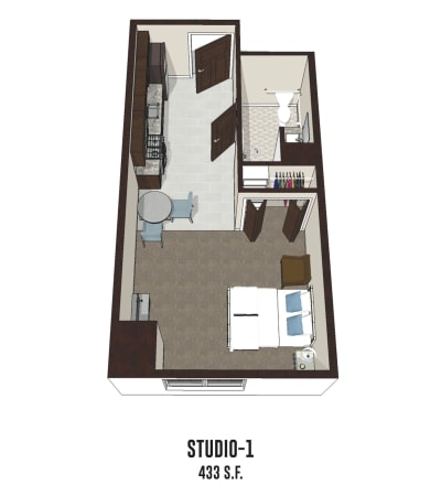 Independent living Studio 1 is 433 square feet at Mt Washington in Mt Washington, Kentucky.