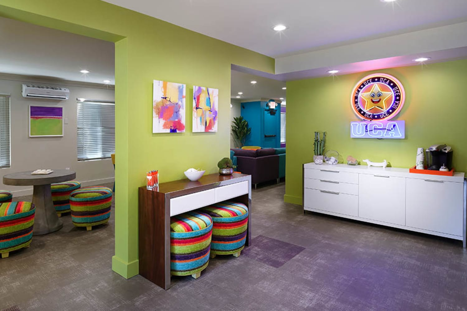Bright and inviting clubhouse at UCA Apartment Homes in Fullerton, California