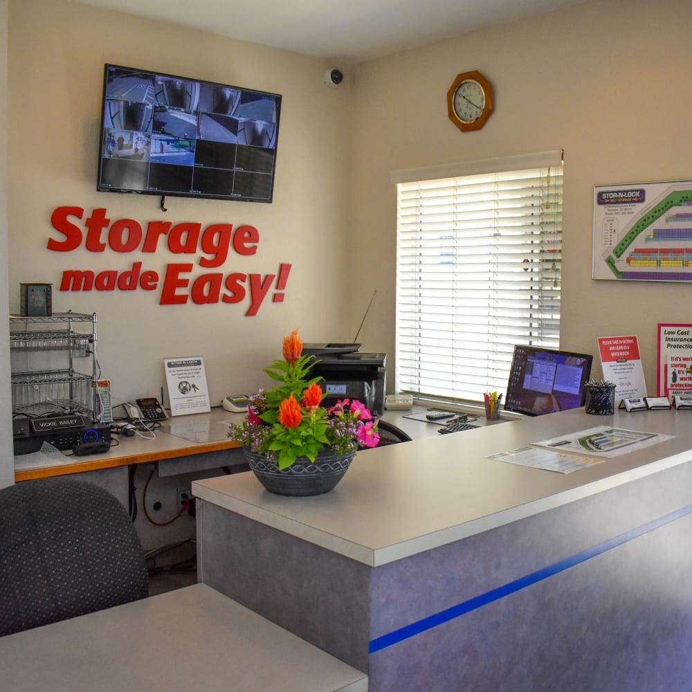 Inside the welcoming office at STOR-N-LOCK Self Storage in Thornton, Colorado
