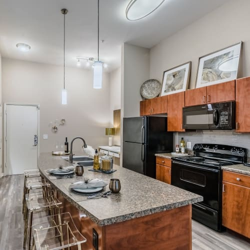 Elegant kitchen with black GE appliances at Olympus Boulevard in Frisco, Texas