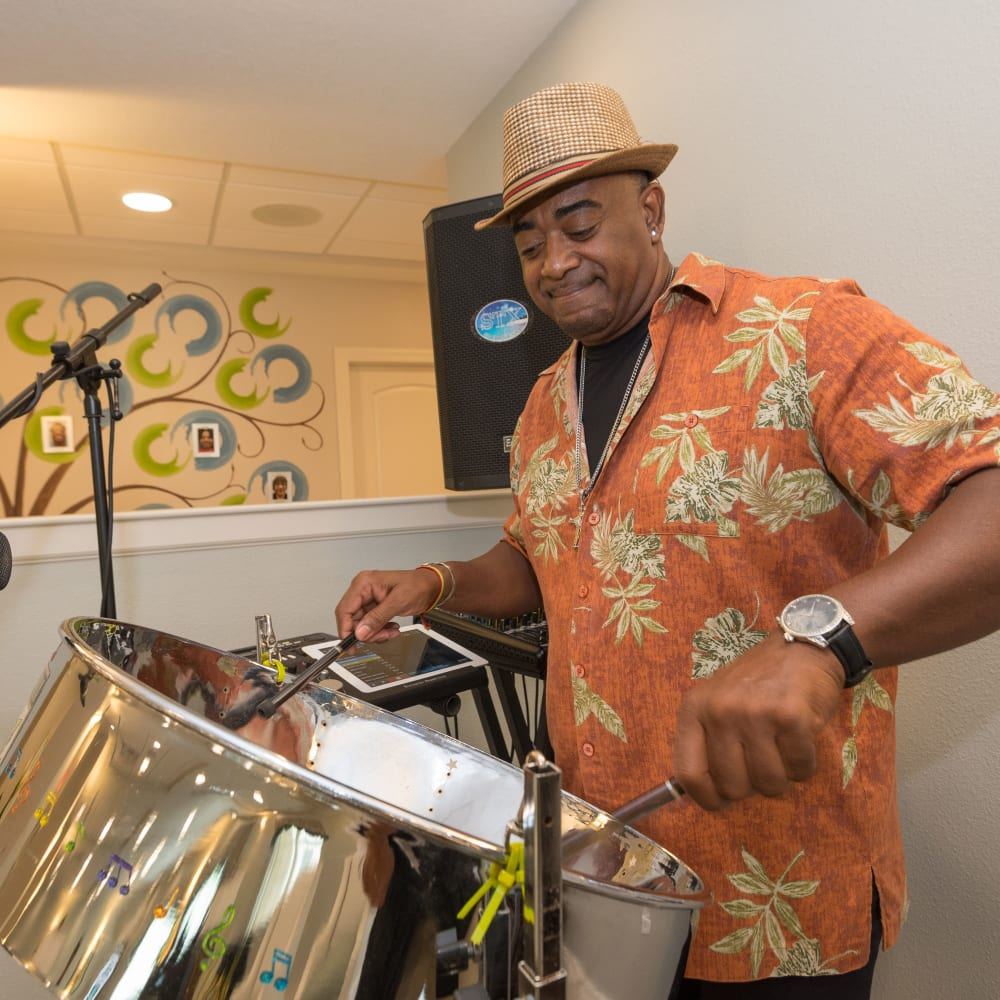 Music entertainment with steel drums at Inspired Living Hidden Lakes in Bradenton, Florida