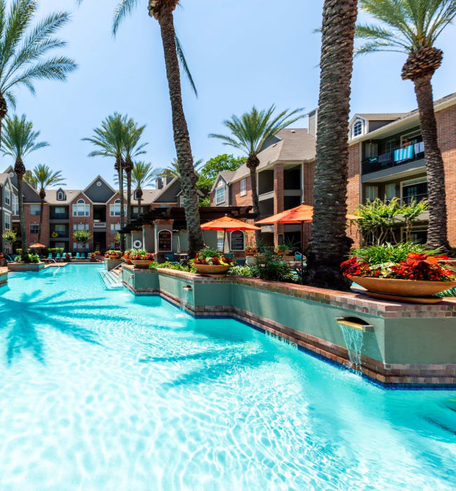 Sparkling, resort style pool at Marquis on Pin Oak in Houston, Texas