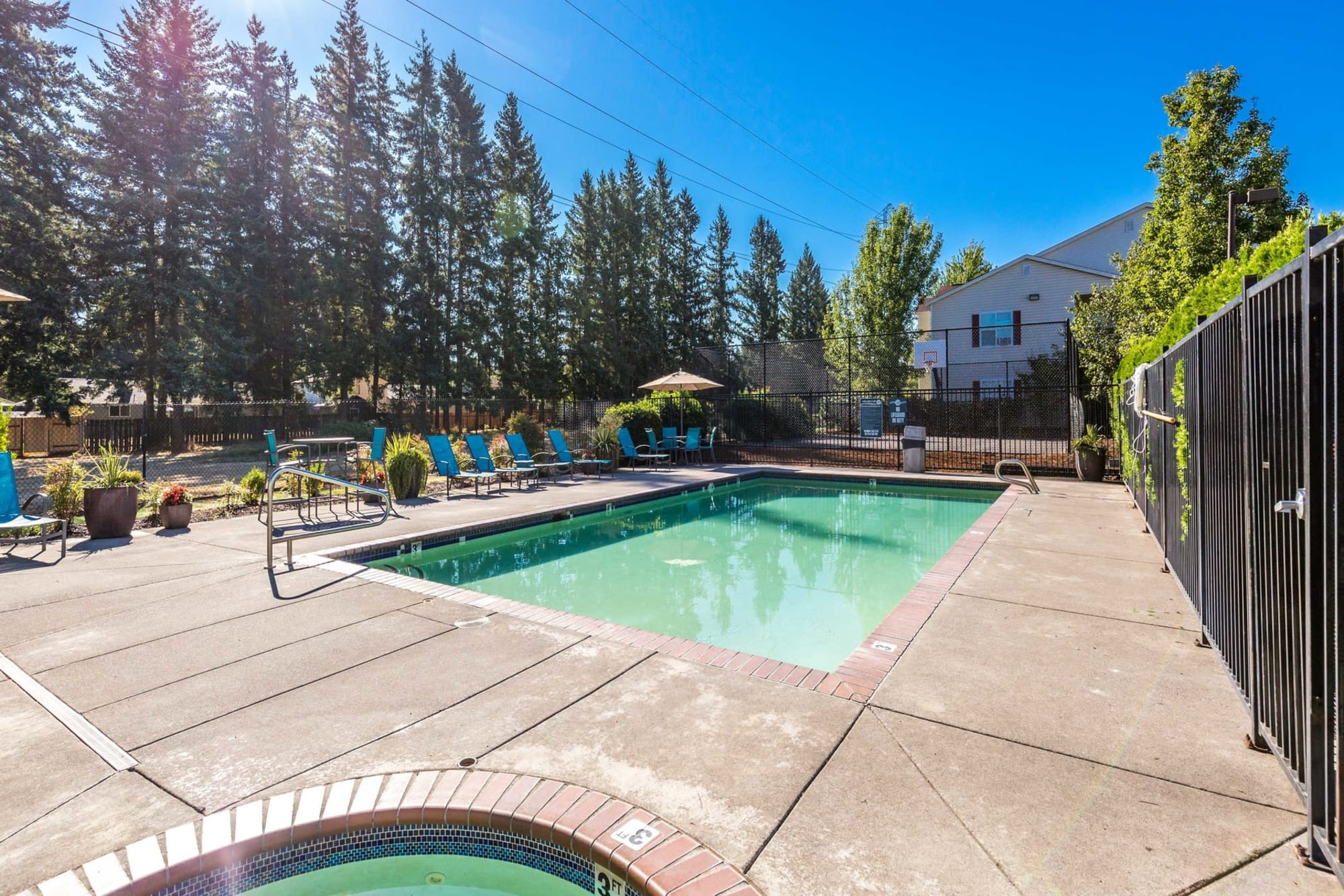 Community Pool With Privacy At The Landings at Morrison Apartments