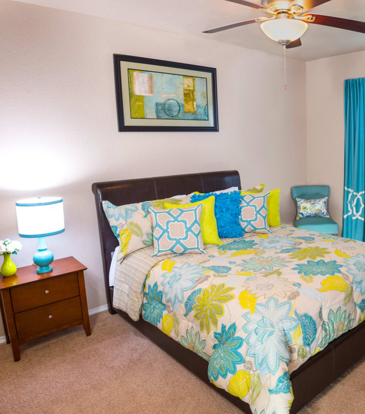 Model bedroom at Ballantyne Apartments