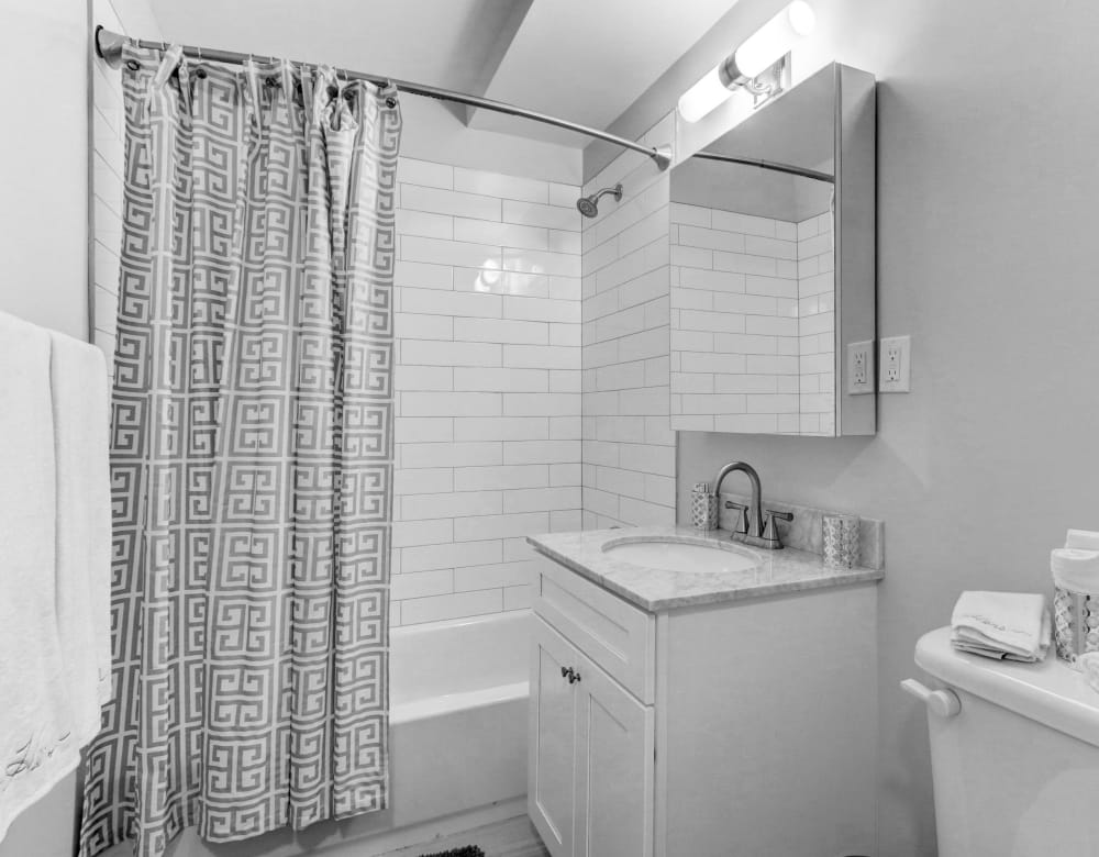 Bathroom at Eagle Rock Apartments at Woodbury in Woodbury, New York